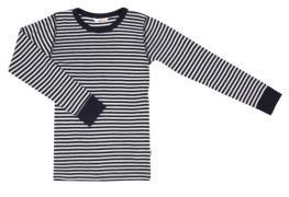 Trøje fra Joha i uld / silke - Smoothy - Navy og hvide striber