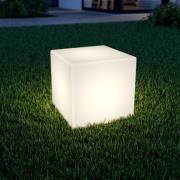 Terningformet LED solcellelampe Ziva i hvid