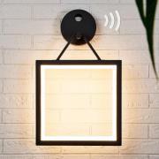 Firkantet LED-væglampe Mirco med bevægelsessensor