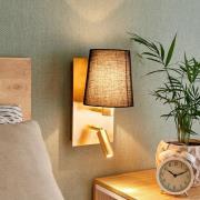 Væglampe Aiden med LED-læselampe, sort, guld