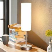 Vinsta smal bordlampe med hvid glasskærm