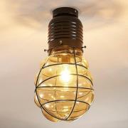 Loftlampe Maluka med ravfarvet glas