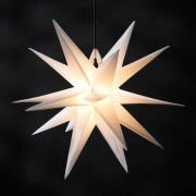 Hvid kunststof-stjerne Jumbo, udendørs, 18 takker
