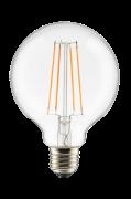 Pære E27 LED 3-trins dæmpbar Globe 100 mm Klar 0,4-7 W
