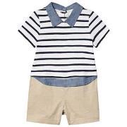 GAP Shirt Romper White/Beige 0-3 mdr