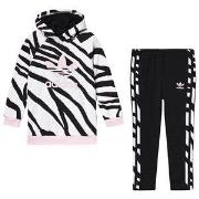 adidas Originals Animal Print Trefoil Logo Hoodie & Bottom Set Black/P...