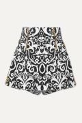Versace - Embroidered Printed Cotton-blend Twill Shorts - Black