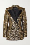 Dolce & Gabbana - Double-breasted Metallic Floral-jacquard Blazer - Go...