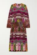 Valentino - Pleated Printed Silk Midi Dress - Plum