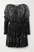 SAINT LAURENT - Dégradé Sequined Stretch-knit Mini Dress - Black