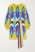 Valentino - Belted Printed Silk-twill Mini Dress - Yellow