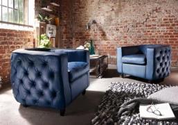 BODAHL Havanna loungestol - blå bøffellæder, m. arm...