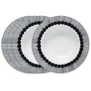 Siirtolapuutarha dyb tallerken Ø 20 cm, 4 stk sort-hvid